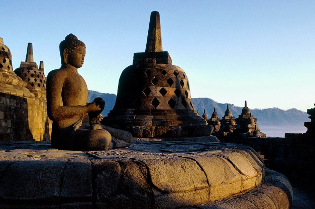 Borobudur, Java, INDONESIA.