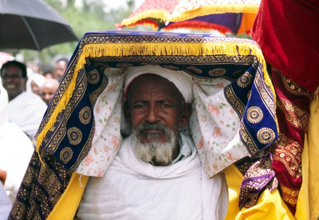 Priest carrying carrying the Tabot (replica tablets from Arc of the Covenant), Axum, Ethiopia