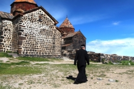 Orthodox priest at Sevan Monastery