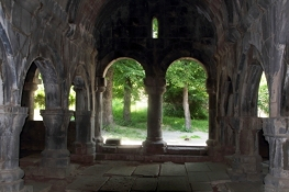 Atmospheric ruined interior of UNESCO listed Sanahin Monastery