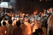 Easter vigil outside Beit Maryam church, Lalibela