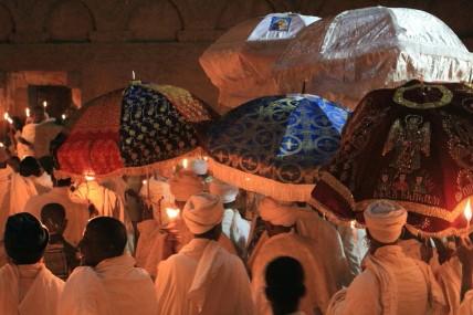 Easter vigil procession at Lalibela