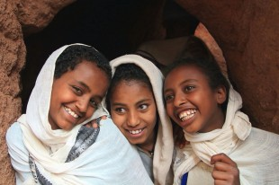 Friendly young pilgrims attending the Easter celebrations at Lalibela