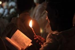 Prayer by candlelight, Easter vigil, Lalibela