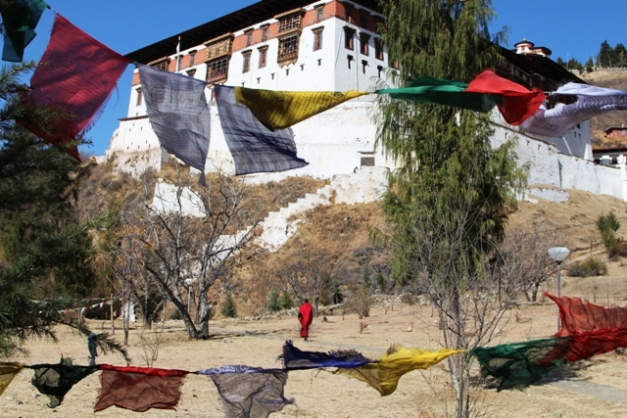 Prayer flags frame the Rinpung Dzong at Paro