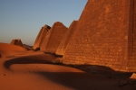 Stunning sunset colours of the Pyramid walls at Meroe