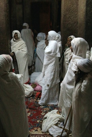 The faithful at Easter vigil, Beit Maryam church, Lalibela
