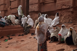 The faithful outside a Lalibela church
