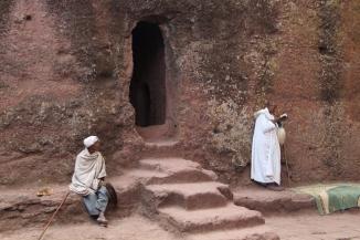 Worshippers outside a Lalibela rock-cut church