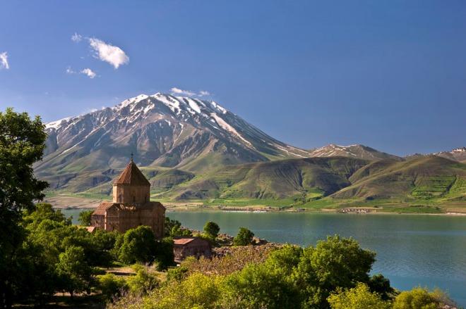Turkey. Akdamar Island (Akdamar Adasi) in Van Lake. The Armenian Cathedral Church of the Holy Cross (from 10th century)
