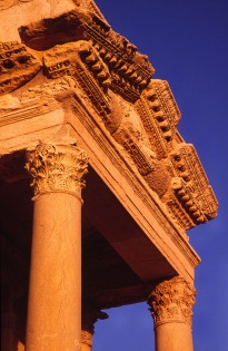 Ornate architectural detail of the Roman theatre at Palmyra