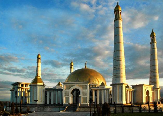 Turkmenistan - Ashghabat / Ashgabat / Ashkhabad / Ahal / ASB: Kipchak Mosque at dusk -