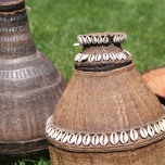 Woven Randille Milk Gourd with Cowrie Shell decoration, Omo Valley, ETHIOPIA